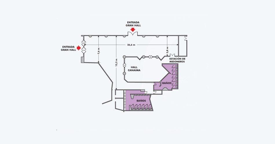 Plano Gran Hall - Hotel Pipo
